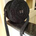 Borsa tamburello in cordino nero glitter